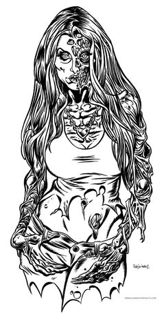Hey there all you Zombie Pin Up Girl Lovers! VaThis lovely Zombie Pin Up Girl is waiting for her special Valentine's gift of brains! Coloring Pages To Print, Colouring Pages, Adult Coloring Pages, Coloring Books, Pin Up Girl Tattoo, Pin Up Tattoos, Nurse Tattoos, Zombie Pin Up, Zombie Art