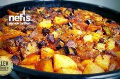 Fırında Nefis Kuşbaşılı Patates Ve Patlıcan Yemeği (Kızartarak) Tarifi
