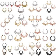 Trend Fake Septum Clip On Non Piercing Swirls Septum Nose Ring Faux Clicker in Jewelry & Watches, Fashion Jewelry, Body Jewelry, Body Piercing Jewelry Faux Septum Ring, Septum Nose Rings, Septum Jewelry, Ear Rings, Fake Piercing, Ear Piercings, Piercing Ideas, Body Piercing, Keep Jewelry