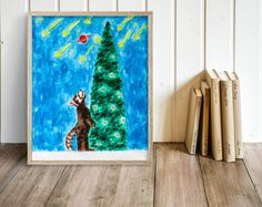 Racoon and stars (Print), racoon print, children illustration, animal print, nursery decor, reproduction, racoon illustration, star print