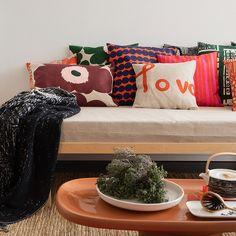 Marimekko's fall/winter home collection 2019 Home Collections, Shop Design, Nordic Interior, Marimekko, Strong Colors, Plant Pattern, Linen Duvet Covers, Duvet Covers, Winter House