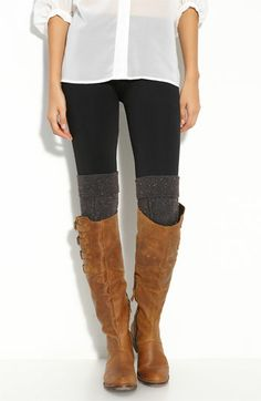 long white button-up + skinny black pants/leggings + gray textured over the knee sock {need} + camel knee high boot {need}