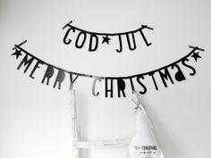LETTERSLINGER Beautiful photo of our lovely letter banner via Vlechtjes en bretels Winter Christmas, Merry Christmas, Xmas, A Little Lovely Company, Black Banner, Merry And Bright, Garland, Lettering, Words