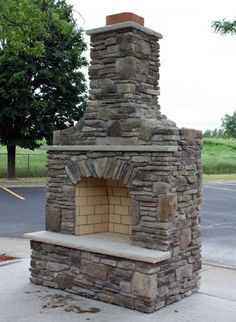 Custom Built Outdoor Fireplace w/Bucks County Southern Ledgestone & Dressed Fieldstone Blend & Indiana Limestone Hearth & Mantel