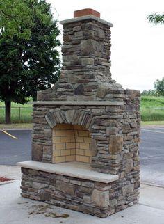 Custom Built Outdoor Fireplace w/Bucks County Southern Ledgestone & Dressed Fieldstone Blend & Indiana Limestone Hearth & Mantel