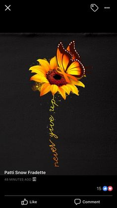 I can never and will never give up on you Samantha I love you my beautiful sunflower always did and always will Sunflower Quotes, Sunflower Pictures, Sunflower Art, Sunflower Tattoos, Sunflower Patch, Cute Tattoos, Body Art Tattoos, Tatoos, Sunflower Iphone Wallpaper