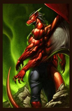 """The Red Dragon"" ~ by The-Angel-of-Angels A detailed portrait of a strong, 4 armed humanoid Dragon, with a third pair of limbs for wings. The person in the image resembles Jake Long (American Dragon)."