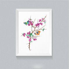 Cherry Blossom Flowers Butterfly print Art for Girls Tree Illustration Floral…