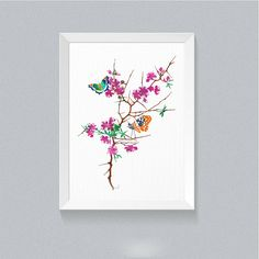 Cherry Blossom Flowers Butterfly print Art for Girls Tree Illustration Floral…