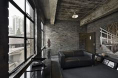 """jaamaanaa: """" I have this plan that I'm going to buy an old warehouse or industry place and convert it into a loft styled home. Modern Interior Design, Interior Architecture, Interior And Exterior, Industrial Architecture, Art Furniture, Black Furniture, Loft Spaces, Office Spaces, Exposed Brick"""