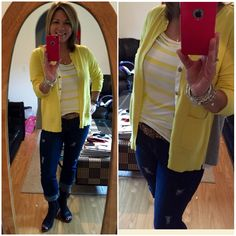 I ❤️ being inspired by cabi Stylists....borrowed OOTD with added touch of my DIY destructed Comet Wash Boyfriend Jeans (fall14) with Banded Tank (spring15) and Belle Cardigan and Kipling Belt (fall15) ....needed a little sunniness on this rainy day ☔️