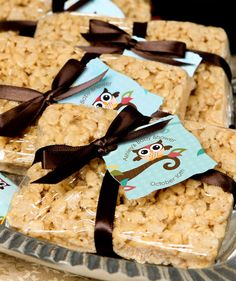 Personalized #Owl Die-Cut Tags Attached to Rice Krispie Treat Party Favors.