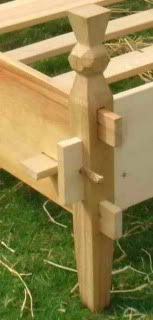 Close up of Copy of Gokstad bed showing the end peg photo bedendjoint.jpg