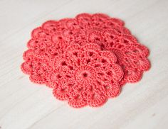 Set of 5 crochet flower appliques Coral Birthday by SvetlanaN, $11.00