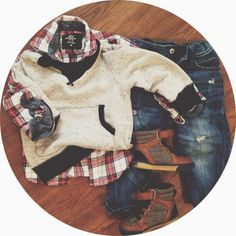 Plaid + Sweatshirt + Denim. Baby boy style. What Jonah's Wearing. {Strickland + Company Blog}