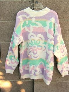 Vintage 80 s Oversized Sweater Novelty Sweater made in USA Acrylic Sweater  with Pastel Flowers White Striped Slouch Oversized Sweater 5d6185a55