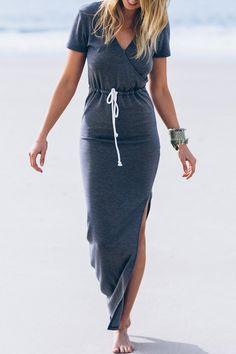 Deep Gray V Neck Short Sleeve Maxi Dress
