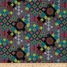 Anna Maria Horner Dowry Postage Due Kalediescope from @fabricdotcom  Designed by Anna Maria Horner for Free Spirit, this fabric is perfect for quilting, apparel and home décor accents.  Colors include teal, lime, black, fuchsia, lilac and grey.