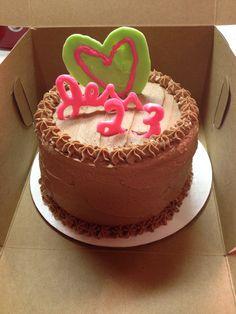 Personal chocolate on chocolate cake