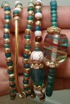 Teal with Envy Beaded Bracelets by RandRsWristCandy on Etsy, $5.00
