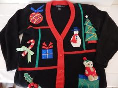 Ugly-Embellished-Christmas-Sweater-Small-Womens-3D-Teddy-Santa-Snowman-Bells-Etc