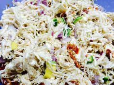 Ginny's Low Carb California Chicken Salad. Each serving has just 4g net carbs (6 total) and a whopping 47g protein! Also great & adaptable for bariatric surgery post-ops in the pureed/soft foods phase!