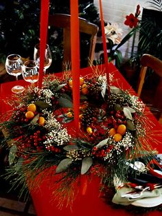 wreath suspended above table