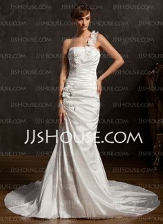 Wedding Dresses - $189.99 - A-Line/Princess One-Shoulder Chapel Train Taffeta Wedding Dress With Ruffle Lace Flower(s) (002015177) http://jjshouse.com/A-Line-Princess-One-Shoulder-Chapel-Train-Taffeta-Wedding-Dress-With-Ruffle-Lace-Flower-S-002015177-g15177