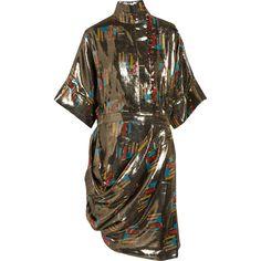 J.W.Anderson Printed silk and Lurex-blend lamé dress ($635) ❤ liked on Polyvore featuring dresses, платья, metallic, loose fit dress, metallic dress, multi-color dress, brown silk dress and loose fitting dresses