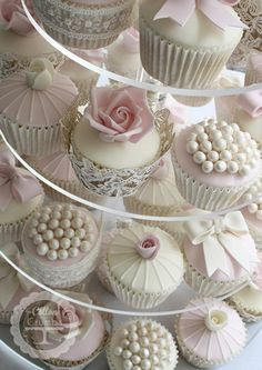 Rose and Pearl Cupcakes