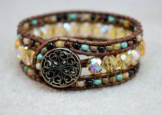 Golden Rustic Picasso Boho Beaded Bracelet
