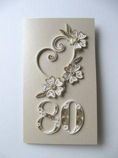 Šťastný 80. narozeniny Přání - 80. narozeniny přeje přání - OOAK Paper Art Present karty