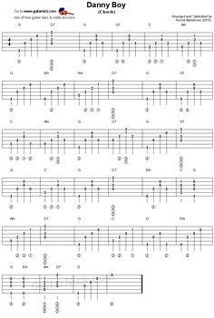 Danny Boy: guitar chords tablature