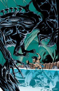 The Alien Queen vs Superman Predator Series, Alien Vs Predator, Alien Hive, Graphic Novel Art, Alien Queen, Funtime Foxy, Aliens Movie, Xenomorph, Man Vs