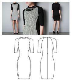 Technical Flat Drawing of a Dress. (Yan Xin)
