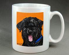 Russian Terrier Mug Dog Coffee Tea Cocoa Ceramic by RMBArtStudio