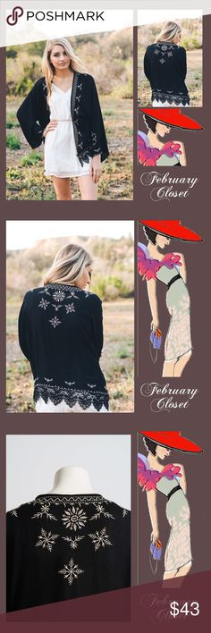 🎁1-DAY SALE🎁 Embroidered Boho Kimono A beautiful kimono to wear anytime with a variety of outfits. Jeans, leggings, skirts. Easy care soft material. New direct from vendor. One size fits most. 100% Polyester. Accessories Scarves & Wraps