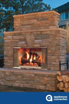 Majestic 42 Inch Montana Outdoor Wood Burning Fireplace with Traditional Full Refractory Lining and Dual Gas Knockouts, Up to BTUs, UL/ULC Listed Stone Electric Fireplace, Outdoor Wood Burning Fireplace, Outdoor Fireplaces, Wood Fireplace, Fireplace Ideas, Outdoor Kitchen Patio, Outdoor Rooms, Outdoor Living, Outdoor Ideas