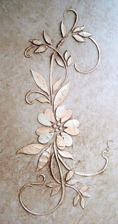 A perfect furniture stencil with plaster or paint and as a repeated stencil border, it's just exquisitie! Plaster stencil it! Design Size: Single Stencil x Leaf Stencil, Stencil Painting, Tree Stencil, Tole Painting, Painting Studio, Emboss Painting, Damask Stencil, Faux Painting, Stencil Designs