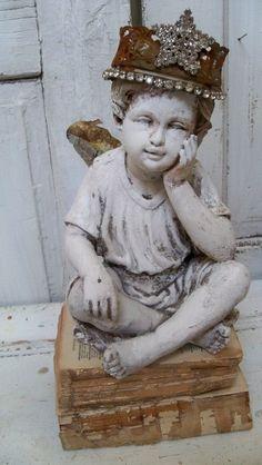 Angel cherub statue shabby chic hand made by AnitaSperoDesign, $230.00