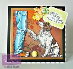 7 x 7 card using Sheena Douglass Stamp - Man's Best Friend coloured with Spectrum Noir ColourBlend pencils. Designed by Laine Webb #crafterscompanion #spectrumnoir. #sheenadouglass