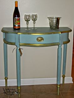 Victoria's Vintage Designs: Hand Painted Demilune Accent Table w/Drawer