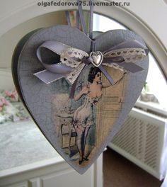"""Купить Интерьерная подвеска """"Искушение"""", продано - декупаж, подвеска сердце, украшение интерьера, винтажный стиль"""