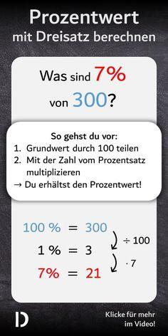 Um den Prozentwert auszurechnen braucht man keine Formel. Viel einfacher geht das nämlich mit dem Dreisatz. Dafür musst du nur den #Grundwert durch 100 teilen und dann mit der Zahl vom #Prozentsatz multiplizieren. Das Ergebnis ist der #Prozentwert!