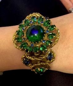 Vintage 40s-50s HOBE Cuff Bracelet With Emerald and Topaz Glass Rhinestones Rare #Hobe #Cuff