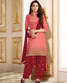 Buy Fascinating Peach & Red Bollywood Salwar Kameez online at  https://www.a1designerwear.com/fascinating-peach-red-bollywood-salwar-kameez  Price: $26.22 USD