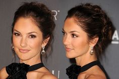 Minka Kelly's swept-back twisted updo hair | allure.com