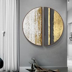 Buy Round Black and Gold Wall Art With Wood Frame – Staunton and Henry Gold Wall Art, Gold Leaf Art, Metal Clock, Art Decor, Decoration, Gold Walls, Wall Art Sets, Wall Art Designs, Abstract Wall Art