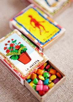 Fiesta/Cinco de Mayo Favor idea: Chiclets in Matchboxes Mexican Themed Weddings, Mexican Fiesta Party, Mexican Party Favors, Mexican Candy Bar, Mexican Desserts, Mexican Birthday, Thinking Day, Party Planning, Just In Case