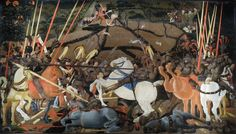 Paolo Uccello's Battle of San Romano, c. 1438–1440. Egg tempera with walnut oil and linseed oil on poplar. 181.6 x 320 cm. Uffizi.
